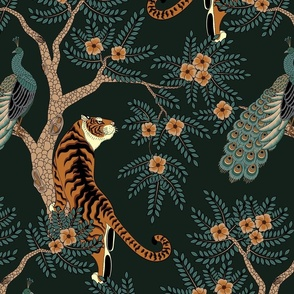 tiger and peacock