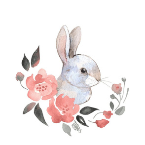 Rabbit and flowers 1