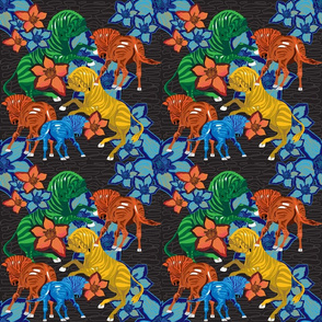 Zebras and flowers