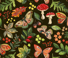 Animalier Forest Butterflies on Golden Brown by Angel Gerardo - Large Scale