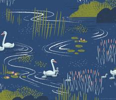Swan Pond M+M Navy Blue by Friztin