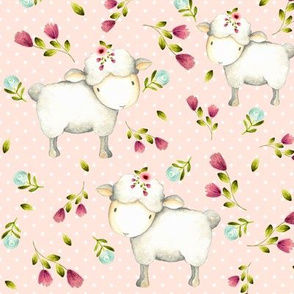 Cute Sheep - Pink & Blue Flowers (baby pink dot)