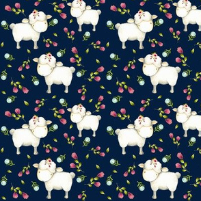 Little Sheep - Pink & Blue Flowers (navy) half-scale
