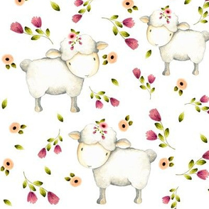 Cute Sheep - Pink & Blush Flowers
