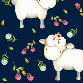 Little Sheep - Pink & Blue Flowers (navy) Large scale