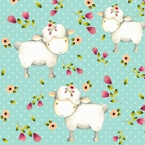 Little Sheep - Pink & Blush Flowers (mint dot)