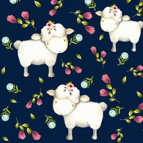 Little Sheep - Pink & Blue Flowers (navy)