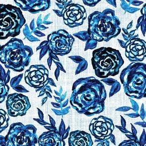 blue watercolor roses
