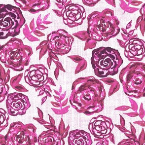 pink watercolor roses