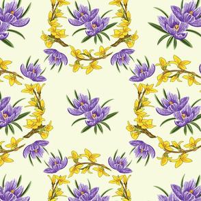 Spring Floral Crocus Forsythia Yellow