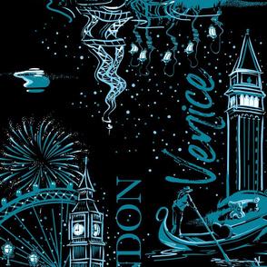 Starry Night Romance | Small | Black + Teal