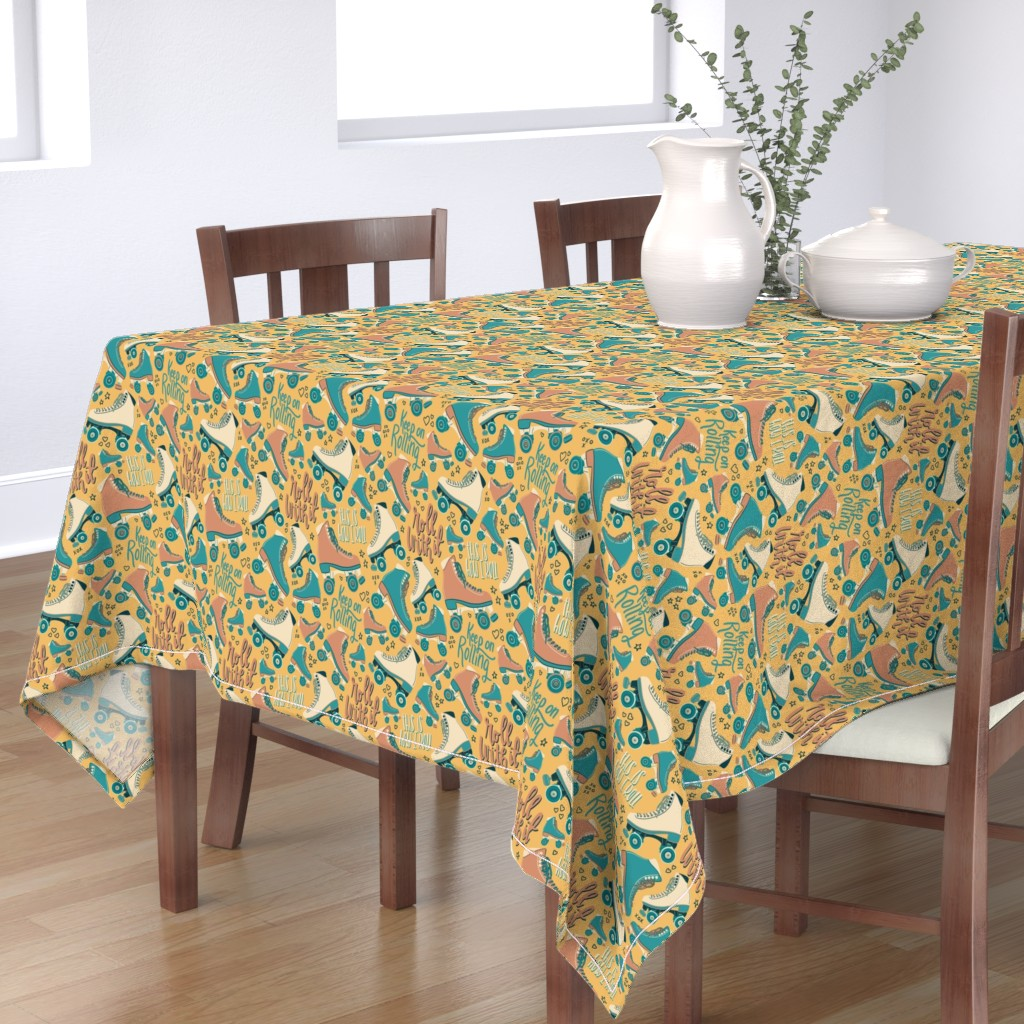 Bantam Rectangular Tablecloth featuring Roll with it - vintage yellow roller skate by new_branch_studio