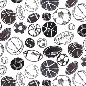 Sports Ball in Black and White - Baseball, Football, Basketball and Soccer Small Version