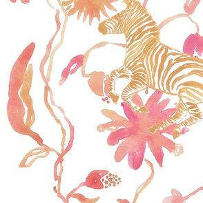 Large Scale Pink & Gold Floral Safari