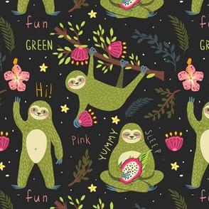 Funny green sloths
