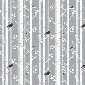 Birch Trees with Blackbirds on Grey