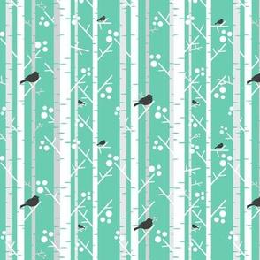 Birch Trees with Blackbirds on Mint