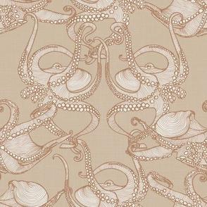 Cephalopod -  Octopi Smaller - Caramel & Sand