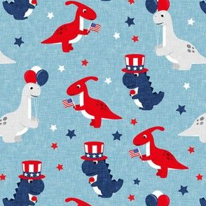 Patriotic Dinos - Stars and Stripes - blue - LAD20