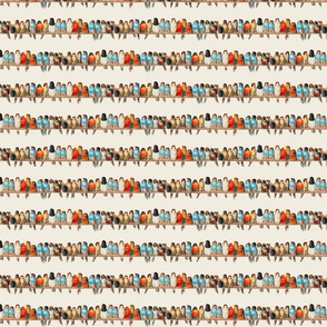 Rows of Colorful Birds (Small Size Print)