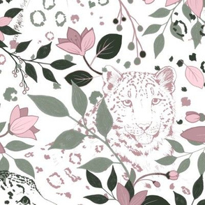 Snow Leopard pastel floral