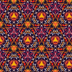 Tribal batik  print-purple orange