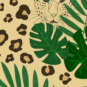 Leopard with leaves