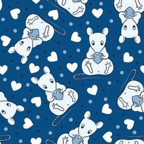 Cute rats and hearts -classic blue