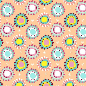 flower circle dots ditsy cream