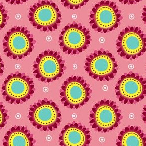 flower circle dots ditsy pink