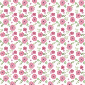 Dusty Rose and Navy Watercolor Flowers