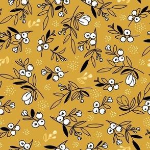 Mustard Woodland Berry Quilt Fabric