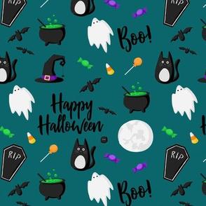 Happy Halloween on Teal