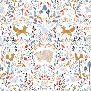 Damask winter animals - small scale
