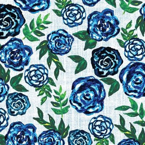 blue and green watercolor roses