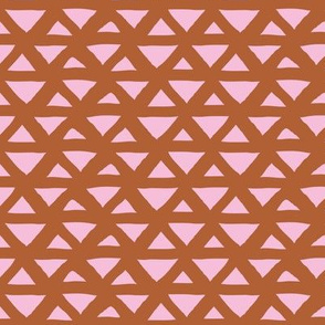 New boho indian summer minimal abstract geometric triangles aztec mudcloth design pink rust copper