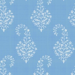 WOVEN Painted Paisley Cerulean and Cream