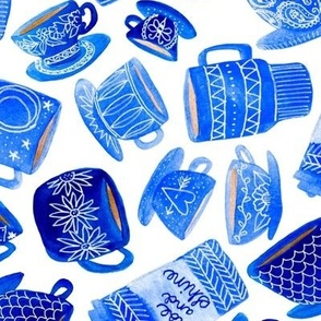 Teacups and Mugs in Blue