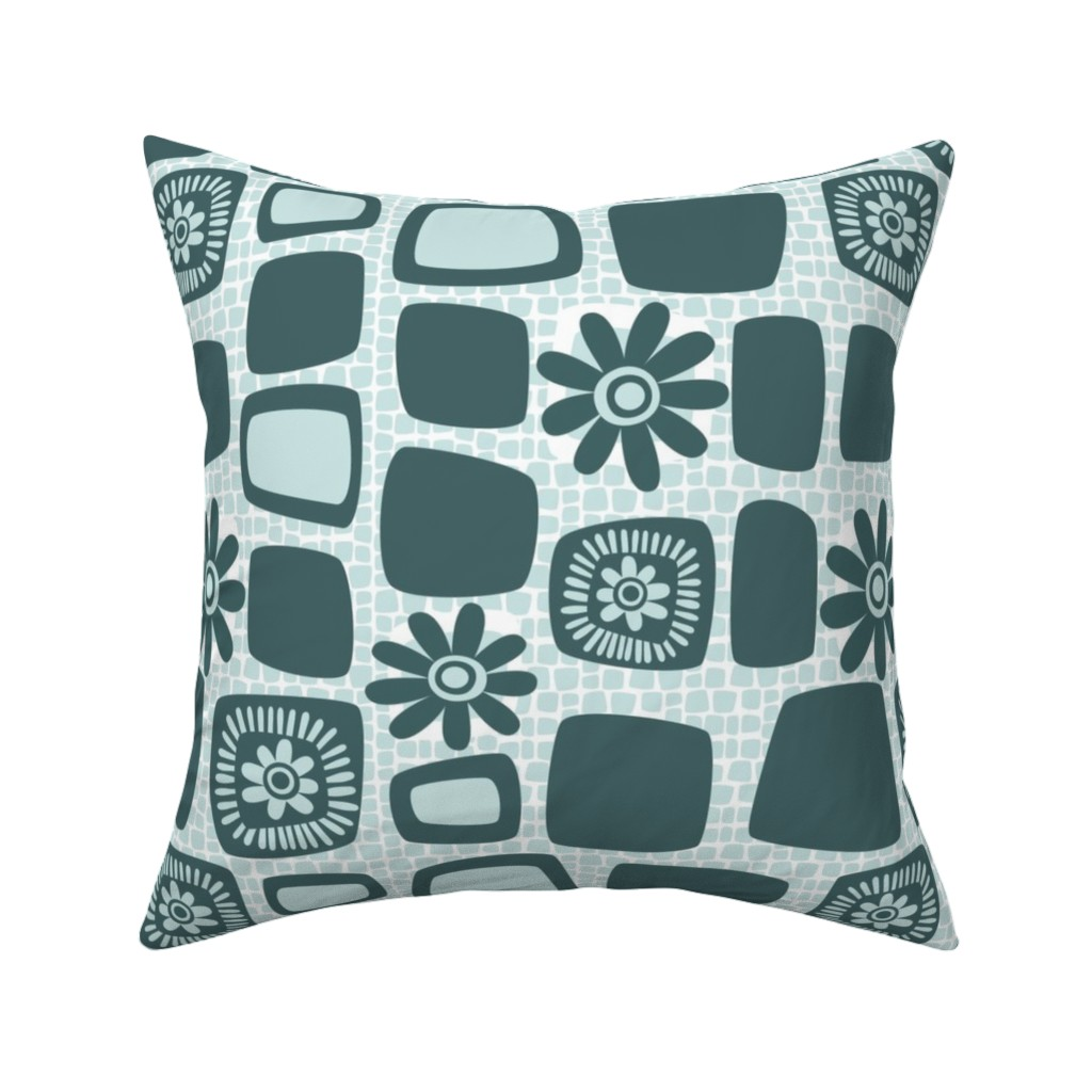 Catalan Throw Pillow featuring Scandi daisy blocks by dustydiscoball