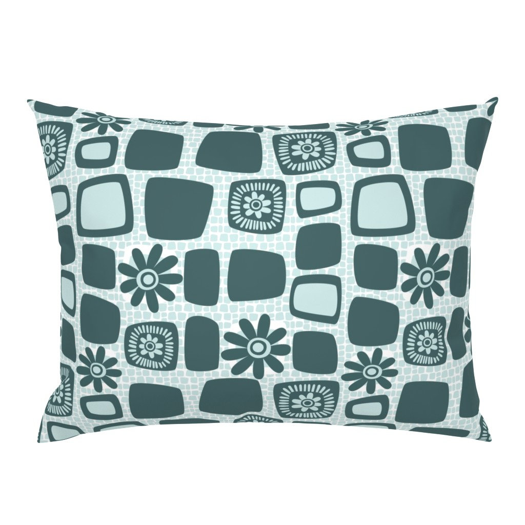 Campine Pillow Sham featuring Scandi daisy blocks by dustydiscoball