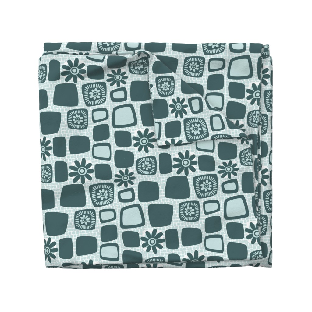 Wyandotte Duvet Cover featuring Scandi daisy blocks by dustydiscoball