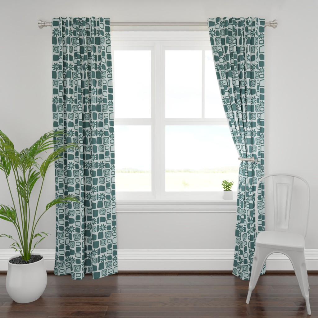 Plymouth Curtain Panel featuring Scandi daisy blocks - mint and pine by dustydiscoball