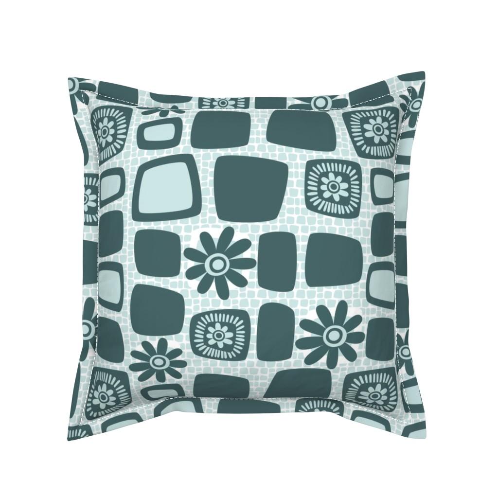 Serama Throw Pillow featuring Scandi daisy blocks by dustydiscoball