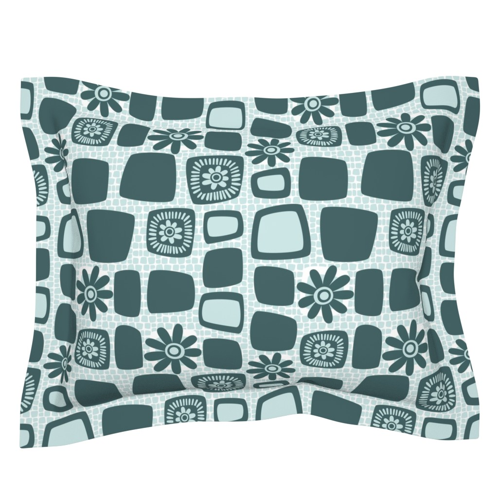 Sebright Pillow Sham featuring Scandi daisy blocks - mint and pine by dustydiscoball