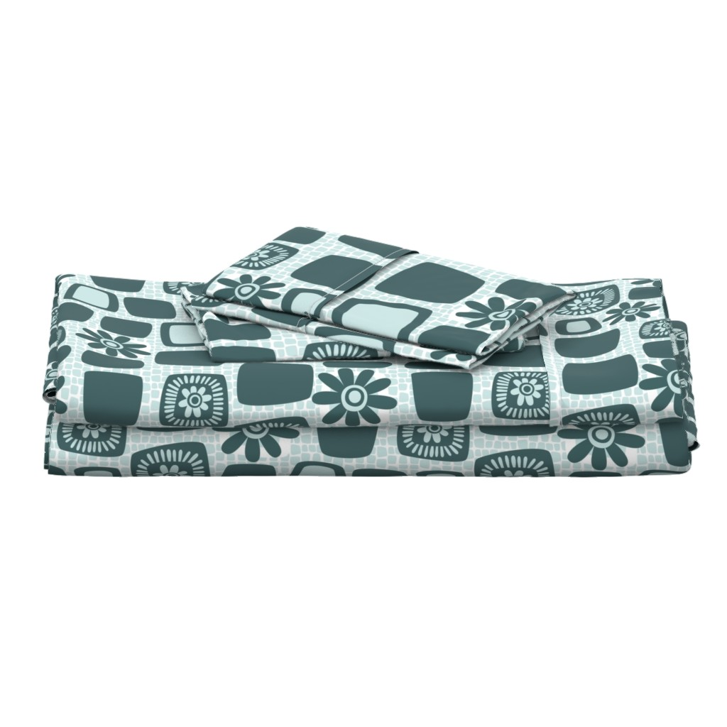 Langshan Full Bed Set featuring Scandi daisy blocks by dustydiscoball