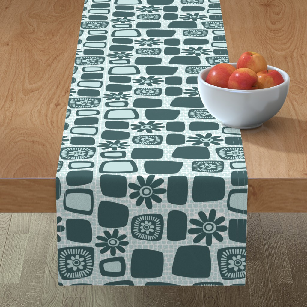 Minorca Table Runner featuring Scandi daisy blocks by dustydiscoball
