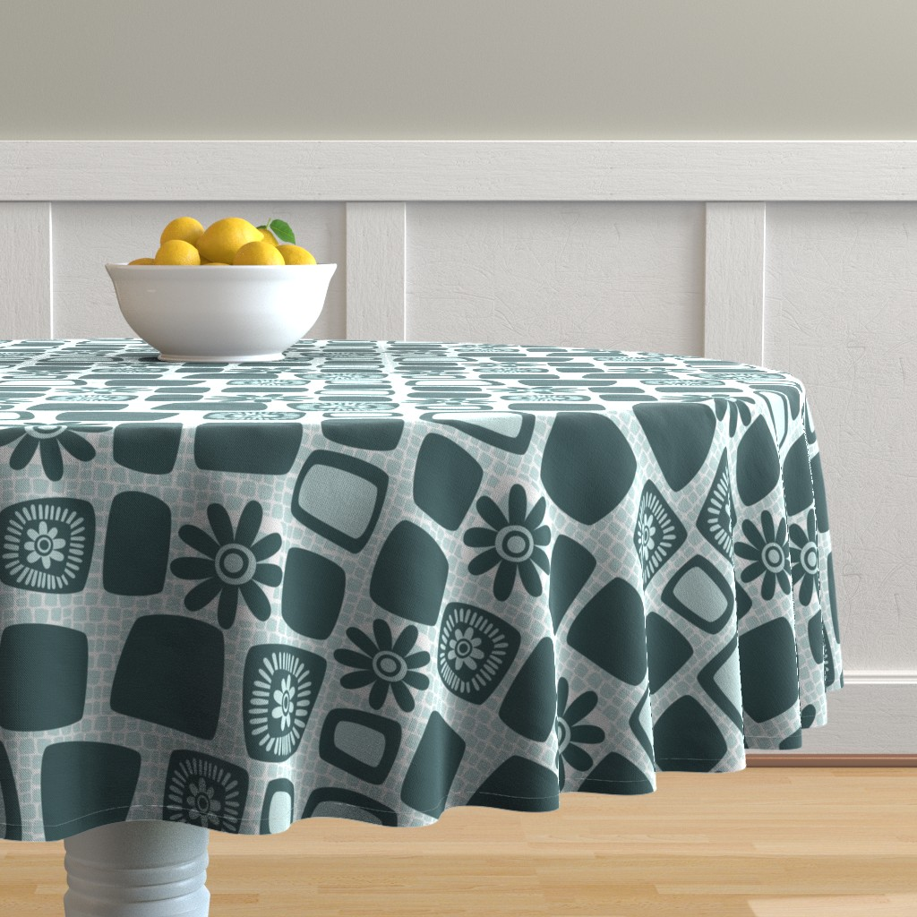 Malay Round Tablecloth featuring Scandi daisy blocks by dustydiscoball