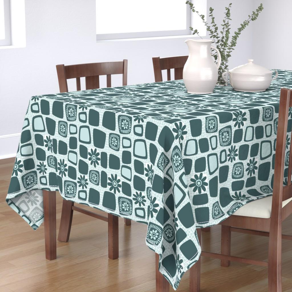 Bantam Rectangular Tablecloth featuring Scandi daisy blocks by dustydiscoball