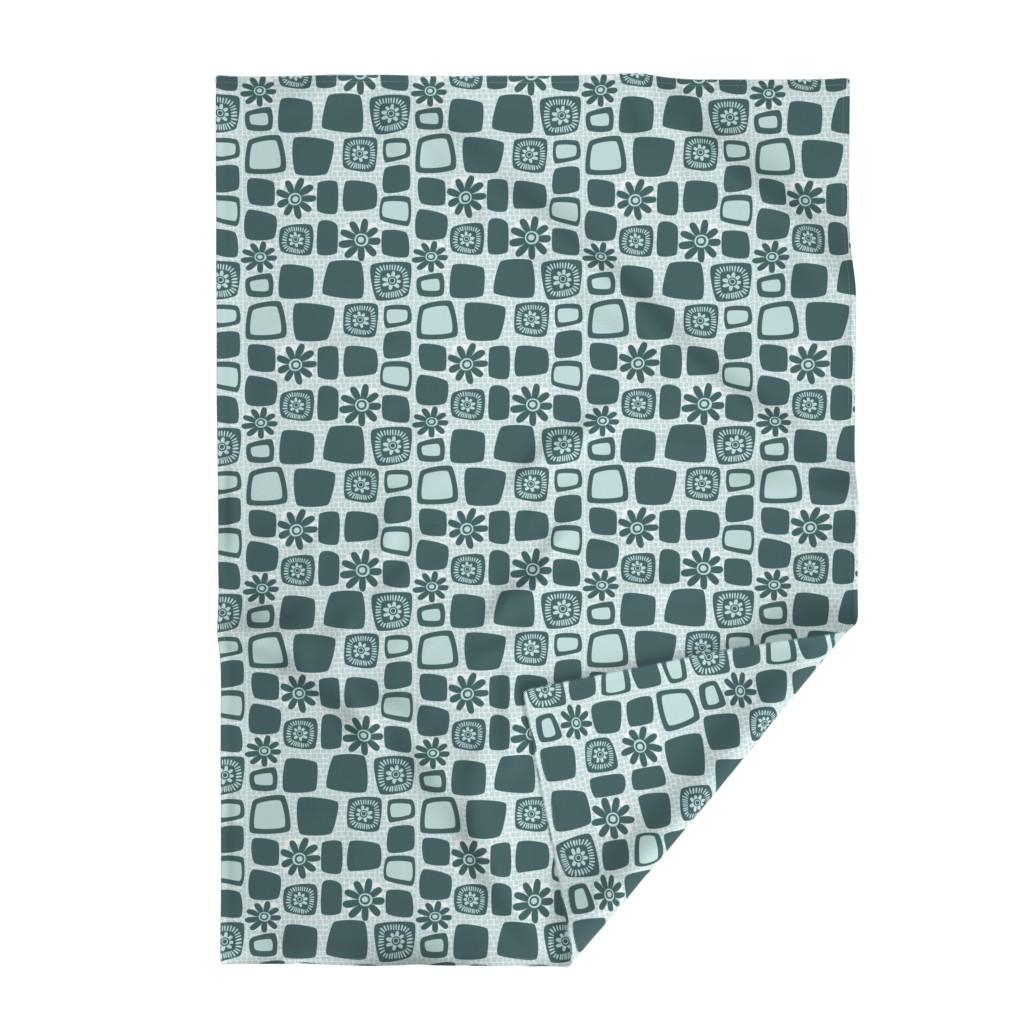 Lakenvelder Throw Blanket featuring Scandi daisy blocks by dustydiscoball