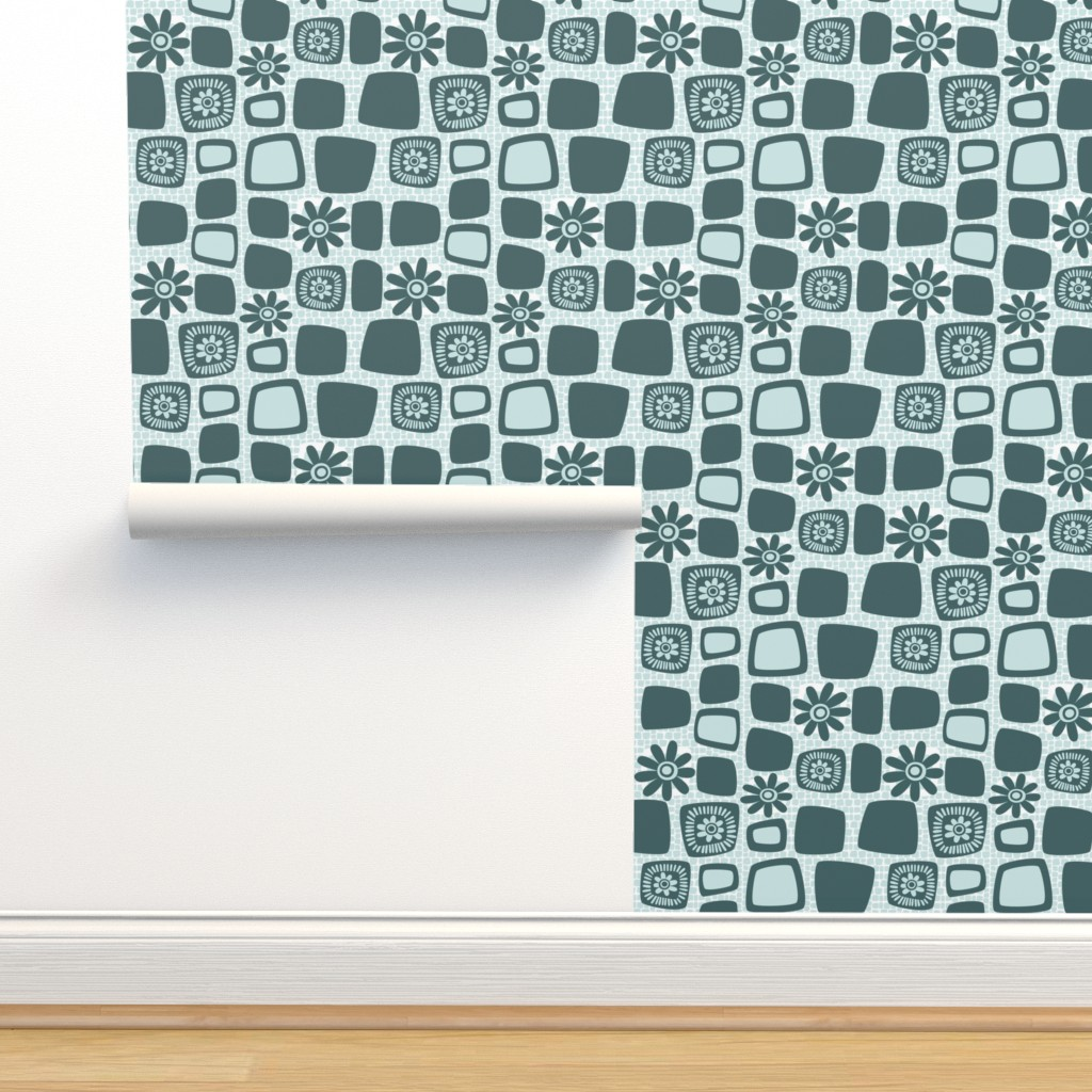 Isobar Durable Wallpaper featuring Scandi daisy blocks by dustydiscoball